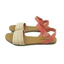Breckelle's Women's Peach and Gold Studded Flat Sandals Size 7 Ankle Strap - £11.76 GBP