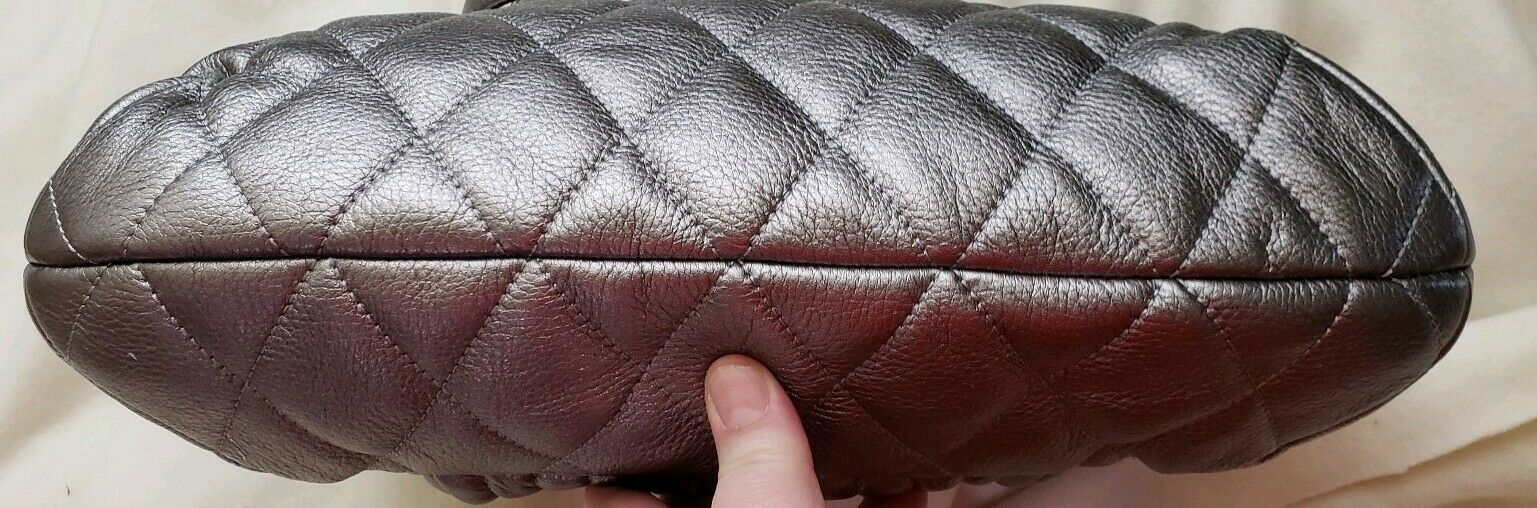 Coach 19857 Poppy Quilted Leather Shopper Tote Gunmetal Silver msrp $358