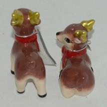 Ganz MX177530 Small Deer Painted Glass Salt Pepper Shakers Red Bow image 2