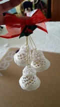 "2004 AVON TRIPLE BELL CROCHETED LACE ORNAMENT, STARCHED, WHITE, 2.5""BELL... - $11.36"