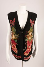 Ugly Christmas Sweater Vest Small Women's Jingles Stockings Black Embroi... - $24.74