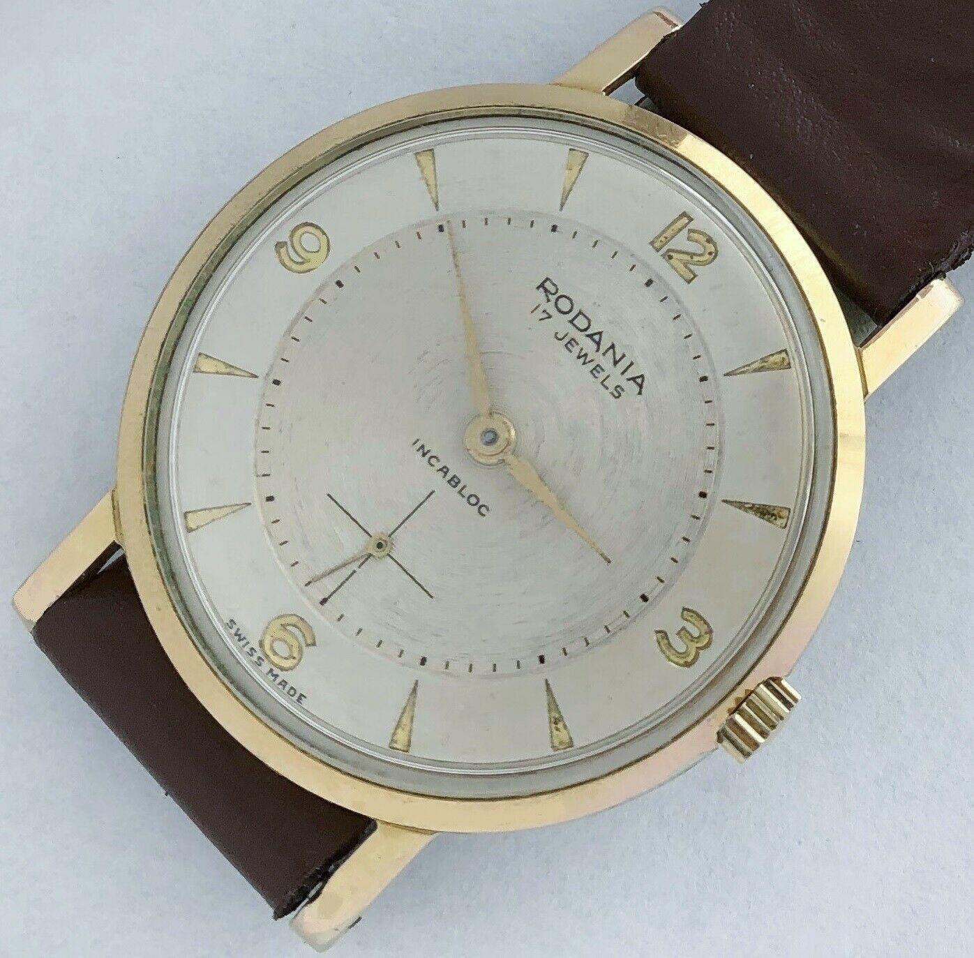 17 Swiss made Rodania Incbloc men's vintage wind up watch.