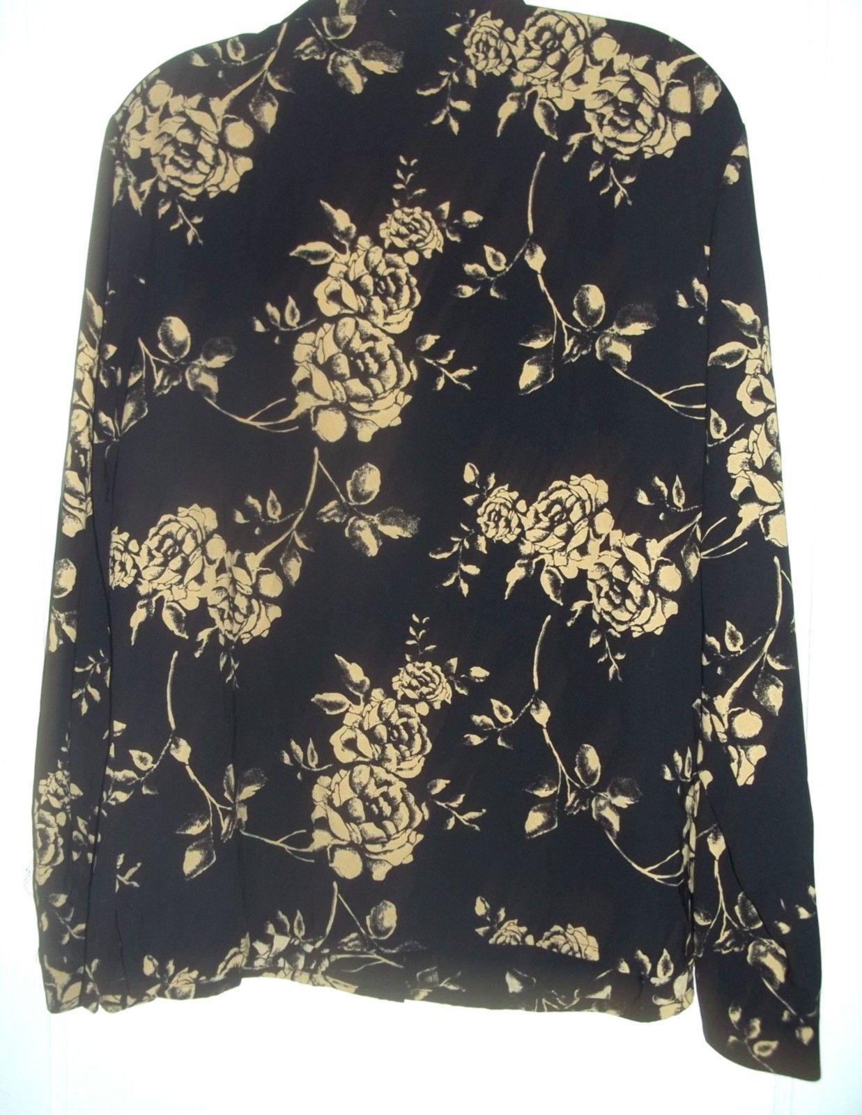 a3d84b55d86 Size 18 - Laura Scott Black w Cream Gold Roses Print Silk-feel Blouse
