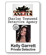 KELLY GARRETT CHARLIE'S ANGELS NAME BADGE TAG HALLOWEEN COSPLAY PIN BACK - $13.85
