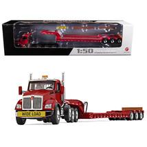 Kenworth T880 Tri Axle Lowboy Trailer Red 1/50 Diecast Model by First Ge... - $121.08