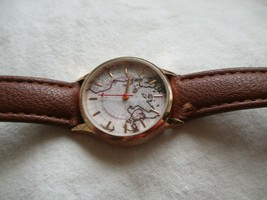 Wristwatch Round Map Themed Face Rose Gold Toned Brown Buckle Band - $29.00