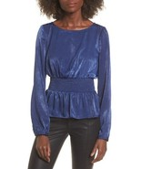 New Nordstrom Womens Size Medium JOA Peplum Top Silky Blue Long Sleeve - $29.39