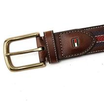 Tommy Hilfiger Men's 35MM Center Stripe Stitch Leather Belt Brown 11TL02X057 image 10