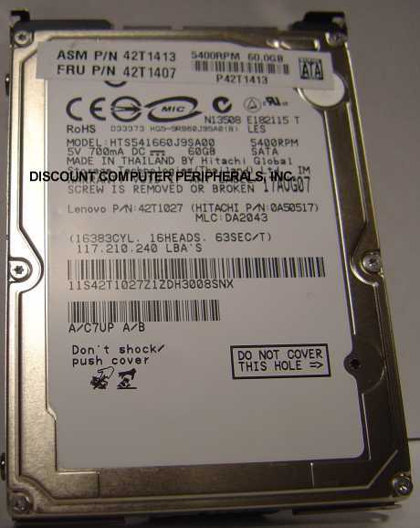 60GB 5400RPM SATA-1.5GBS 2.5 INCH NOTEBOOK DRIVE HITACHI HTS541660J9SA00 Free US