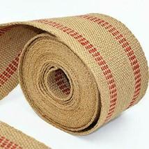 "ZAIONE 10 Yards Width 2"" Roll Natural Burlap Red Line Jute Stripes  - $20.17"