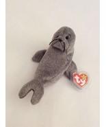 "TY BEANIE BABY gray SLIPPERY THE WALRUS 7"" bean bag plush stuffed animal - $4.99"
