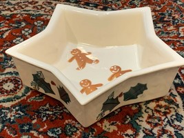 """VINTAGE HARTSTONE GINGERBREAD MAN HOLLY XMAS 9"""" STAR SERVING BOWL CANDY ... - $26.99"""