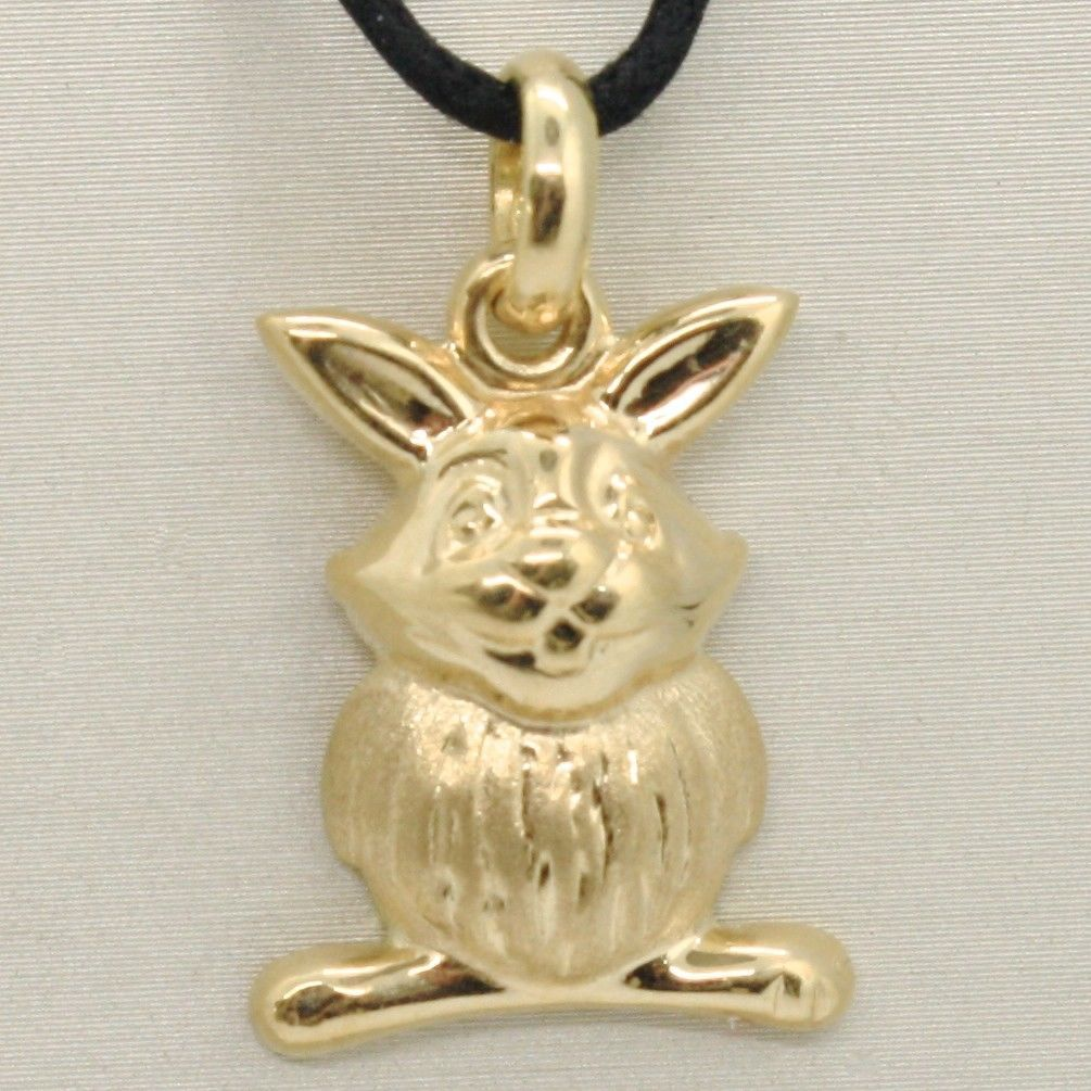 18K YELLOW GOLD ROUNDED RABBIT PENDANT CHARM 26 MM SMOOTH & SATIN, MADE IN ITALY