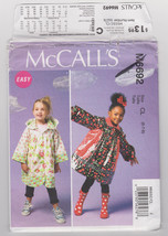 Pattern McCalls 6692 Girls Size 2 3 4 5 Unlined Coats Easy, 2013 - $3.99