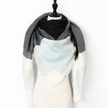2017 New Fashion Winter Scarf For Women Scarf Luxury Brand Triangle Plaid Warm C image 2