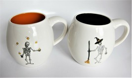 2x Rae Dunn Halloween Mugs Black Orange Skeleton Witch Hat Broom Candy Corn - €19,23 EUR