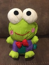 "Vtg '96 Sanrio Keroppi Plush Green Frog Hello Kitty 10"" Red Tie Purple Nylon - $46.71"