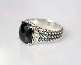 David Yurman Silver Petite Wheaton Black Onyx Diamonds Ring - $222.75