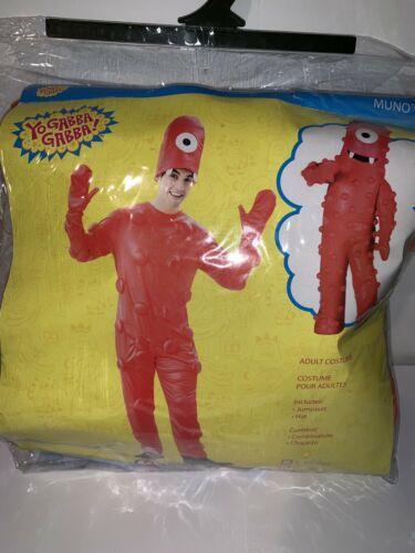 EUC Paper Magic Men Women Adult Medium YO GABBA GABBA MUNO Halloween Costume Red