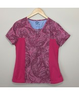 Gem Womens Scrub Top Pink Paisley Print Size M Short Sleeve Stretchy Sides - $14.99