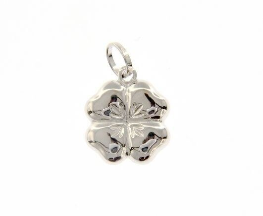 18K WHITE GOLD ROUNDED FOUR LEAF PENDANT CHARM 22 MM SMOOTH MADE IN ITALY