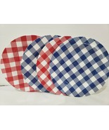 (4) 4th of July Patriotic Buffalo Check Blue Red Melamine check Plates 9... - $26.99