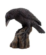 Leaning Black Raven on Rocks Hand Painted Resin Statue Figurine - $19.79