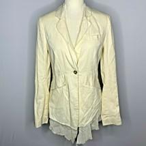 AllSaints Gauze Blazer Sample 6 Ivory One Button Raw Hem Pockets Shoulde... - $79.15