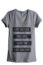 Thread Tank Life You Love Women's Relaxed V-Neck T-Shirt Tee Heather Grey - $24.99+