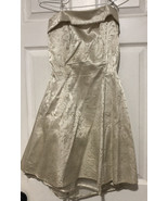 Vintage Roberta Mini Formal 80s Dress Sz 9/10 Cream Ivory Gold Tull Strappless - $59.90