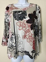 Chico's Womens Size 3 Floral Pattern Blouse 3/4 Sleeve Round Neck - $16.83