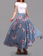 FLORAL Chiffon Long Skirt Dusty Blue Flower Silk Chiffon Skirt Summer Wedding  image 7