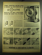 1950 Vacheron & Constantin Ad - Le Coultre Atmos Clock and Watches - $14.99
