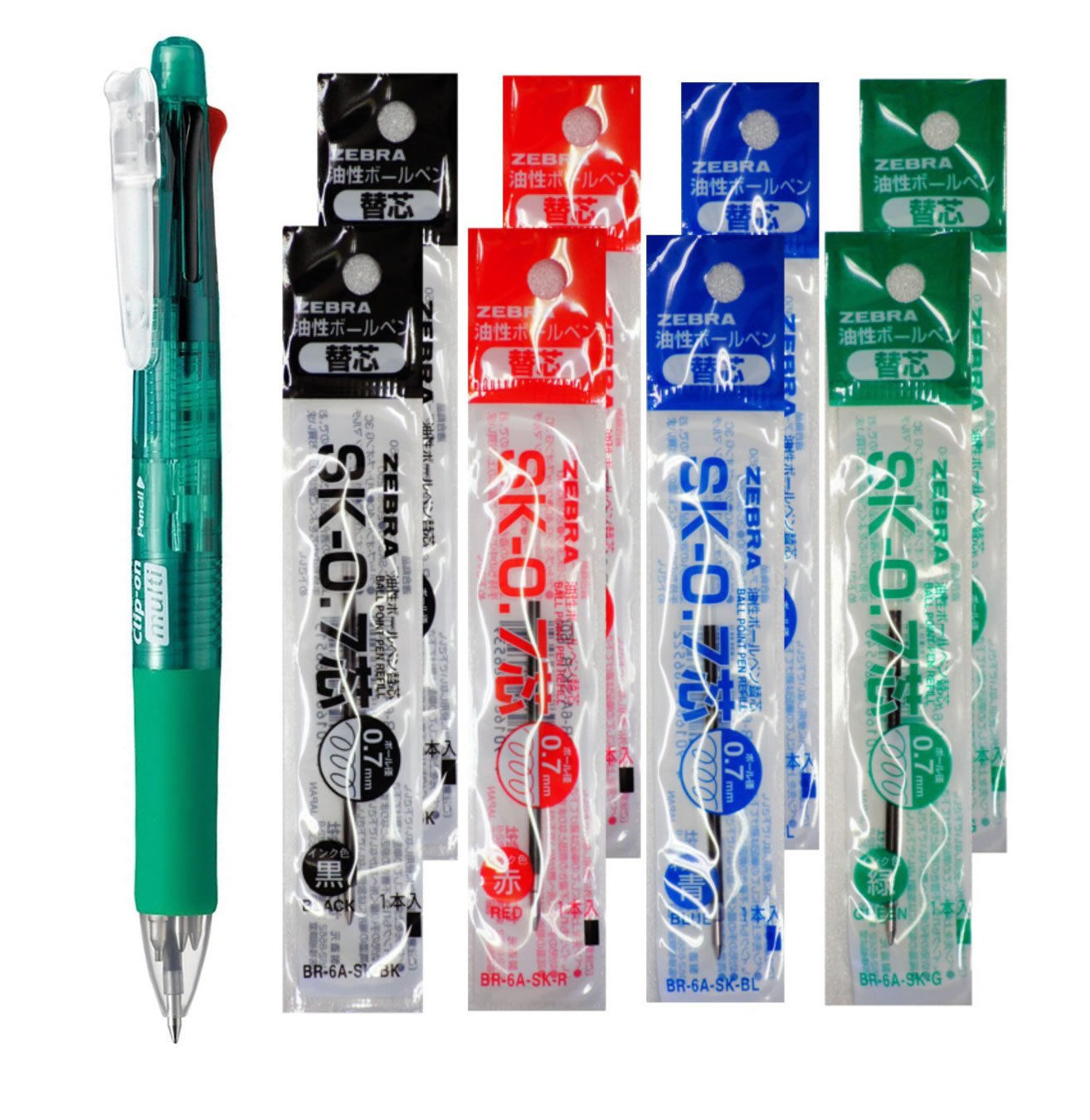 Zebra B4SA1 Green Pen+SK-0.7 Black,Blue,Red,Green 0.7mm Refills (8pc