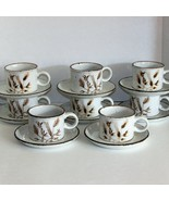WILD OATS STONEHENGE COFFEE CUPS & SAUCERS SET OF 8 MIDWINTER STONEWARE WEDGWOOD - $69.99