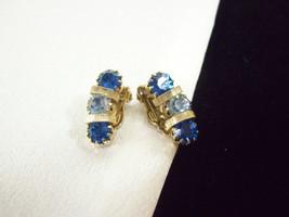 Royal n Pale BLUE Rhinestone Huggie Gold Plate Clip Earrings Vintage PRO... - $17.81