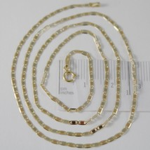18K YELLOW WHITE ROSE GOLD FLAT BRIGHT OVAL CHAIN 20 INCHES, 2 MM MADE IN ITALY image 1