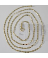18K YELLOW WHITE ROSE GOLD FLAT BRIGHT OVAL CHAIN 20 INCHES, 2 MM MADE I... - $332.69