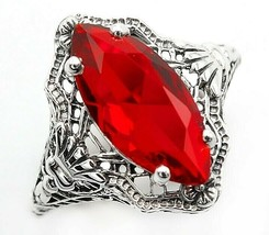 2CT Ruby 925 Solid Sterling Silver Art Deco Style Ring Jewelry Sz 9, U-31 - $29.69