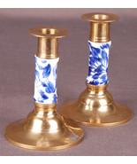 """Vtg Pair of Brass & Porcialen Candlesticks-Blue Floral-5"""" Tall - $19.62"""
