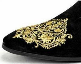 Handmade Men's Black Velvet Slip Ons Loafer Gold Embroidery Patches Shoes image 2
