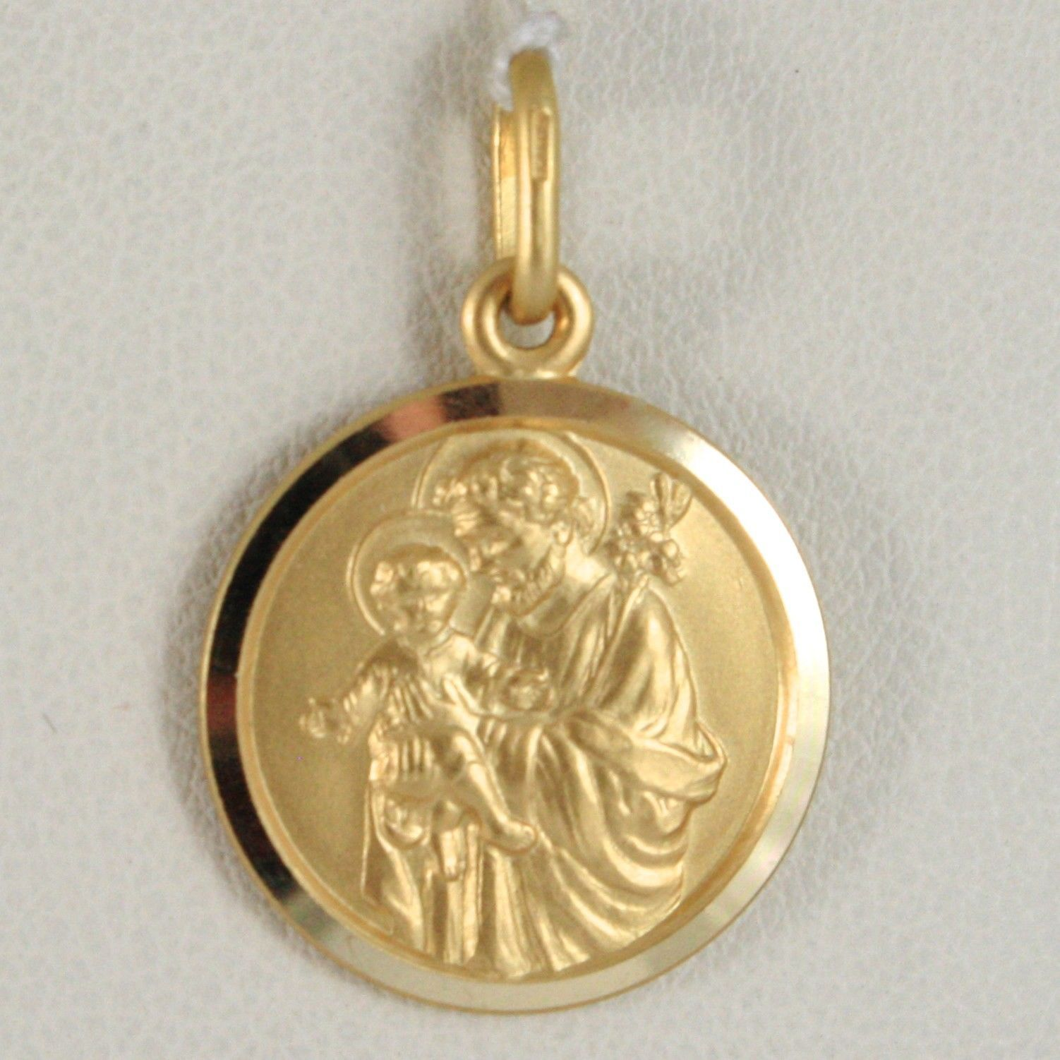 SOLID 18K YELLOW GOLD ST SAINT JOSEPH 17 MM MEDAL WITH JESUS, MADE IN ITALY