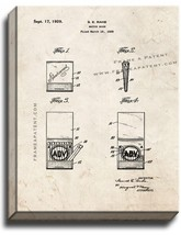 Match Book Patent Print Old Look on Canvas - $39.95+