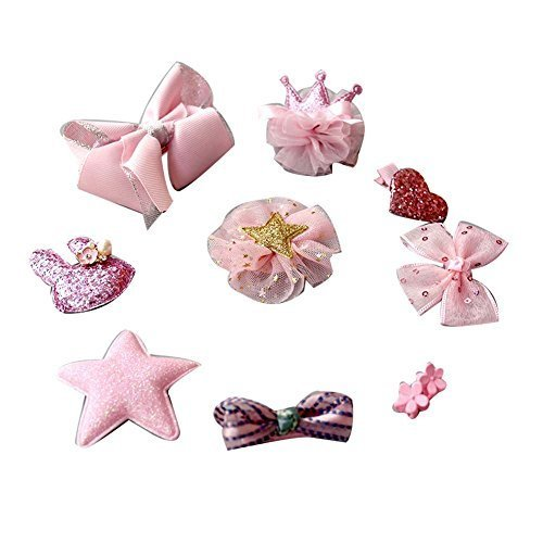 Set of 10 Soft Cloth Little Girls Hair Accessories Hair Barrettes Hairpins Pink