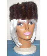 Classic 1950's pillbox style, fur hat chestnut/russet colors - $25.00