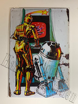 "Star Wars C-3PO R2-D2 Play Games Wall Metal Sign plate Home decor 11.75"" x 7.8"""