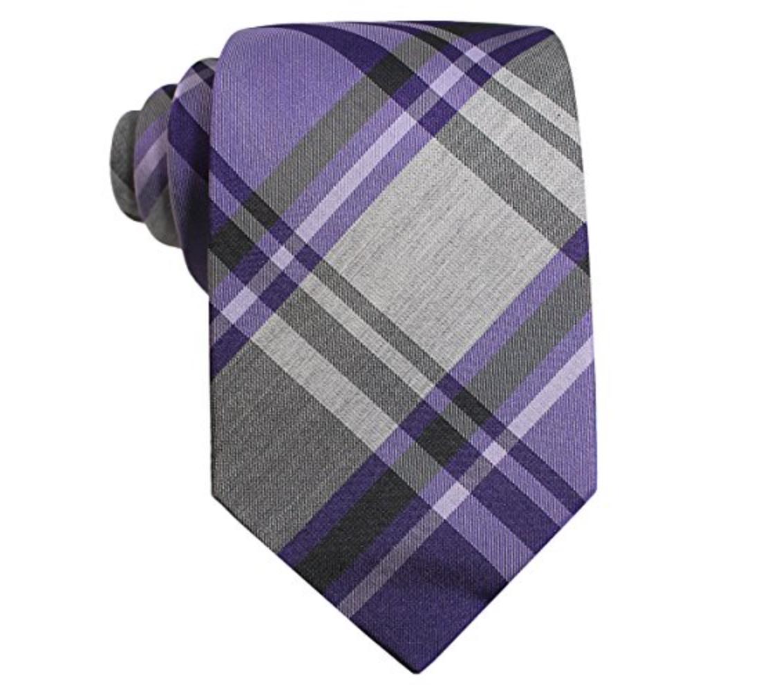 Alfani Mens Tulum Plaid Silk Slim Neck Tie Purple O/S MSRP $49.50
