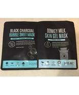 (1)Black Charcoal Bubble Sheet Mask + (1) Donkey Milk Skin Gel Mask SOO ... - $9.46
