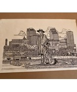 """1993 Ink Drawing of Stevie Ray Vaughn Statue In AUSTIN by Richard """"Ricar... - $28.50"""