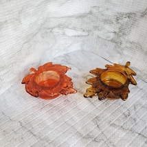 Tealight Candle Holders, set of 2, Glass Autumn Leaves, Red Orange Gold